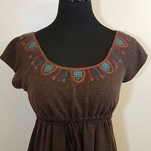 Theme Dresses - Theme Woolblend Brown Babydoll Dress